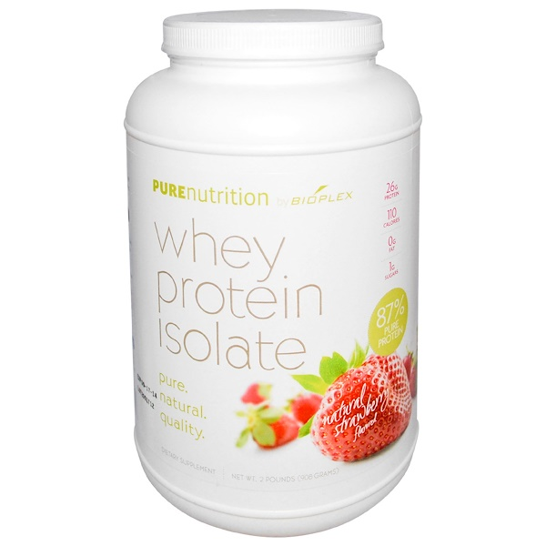 Pure Nutrition, Whey Protein Isolate, Natural Strawberry Flavored, 2 lbs (908 g) (Discontinued Item)