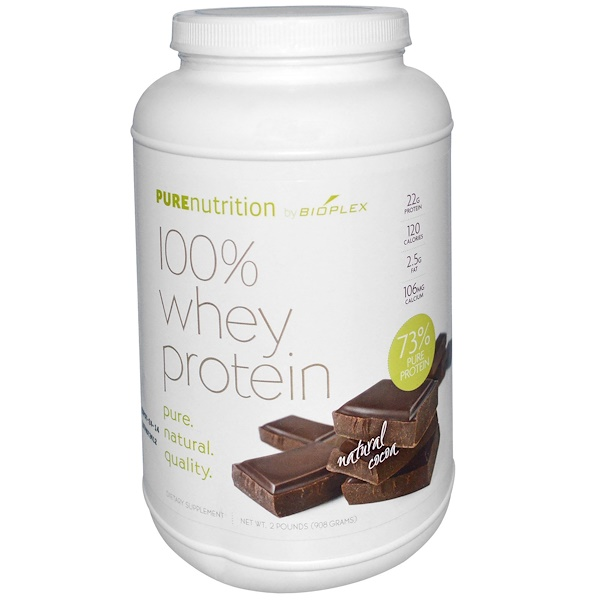 Pure Nutrition, 100% Whey Protein, Natural Cocoa, 2 lbs (908 g) (Discontinued Item)