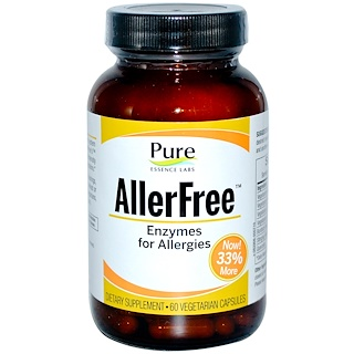 Pure Essence, アレルギーフリー、 アレルギー用酵素、 60植物性カプセル