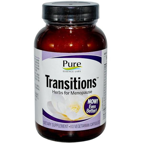 Pure Essence, Transitions, hierbas para menopausia, 60 cápsulas vegetarianas