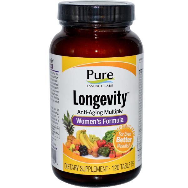 Pure Essence, Longevity, анти-возрастные мультивитамины для женщин 120 таблеток