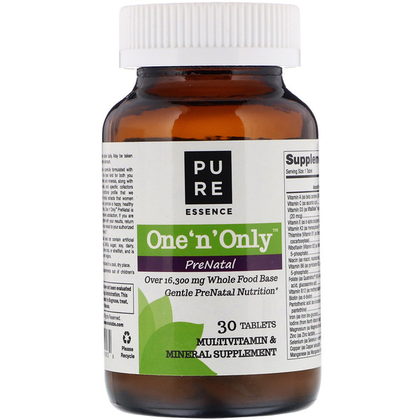Pure Essence, One 'n' Only PreNatal, Multivitamin & Mineral, 30 Tablets