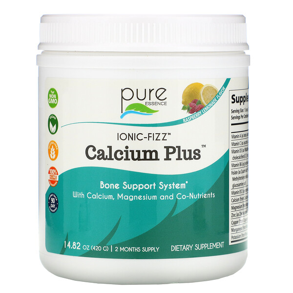 Pure Essence, Ionic-Fizz, Calcium Plus, Limonade à la framboise, 420g