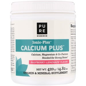 Pure Essence, Ionic-Fizz Calcium Plus, Raspberry Lemonade, 14.82 oz (420 g)