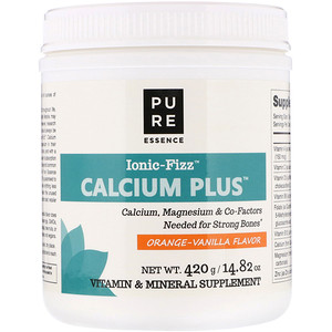 Pure Essence, Ionic-Fizz Calcium Plus, Orange Vanilla Flavor, 14.82 oz (420 g)