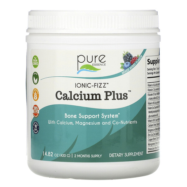 Pure Essence, Ionic-Fizz Calcium Plus, Mixed Berry, 14.82 oz (420 g)