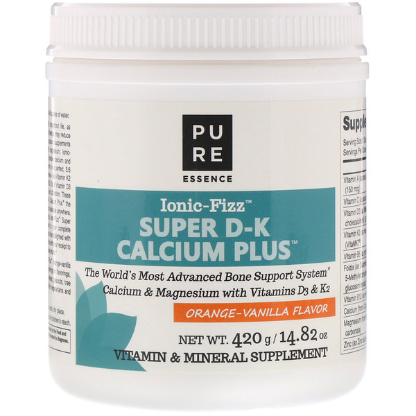 Pure Essence, Ionic-Fizz超級D-K鈣+,柳丁香草,14.82盎司(420克)