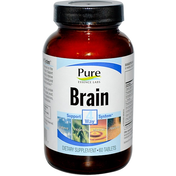 Pure Essence, Brain, 4 Way Support System, 60 Tablets (Discontinued Item)