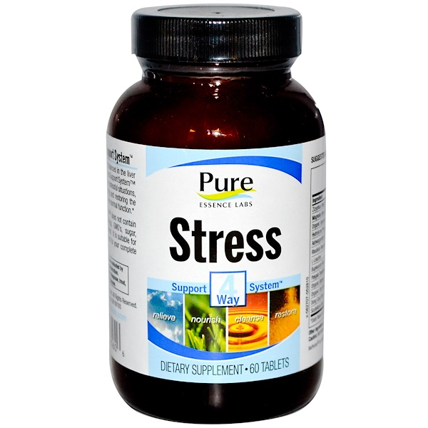 Pure Essence, Stress, 4 Way Support System, 60 Tablets (Discontinued Item)