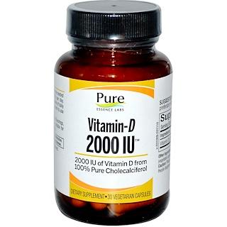 Pure Essence, Vitamin-D, 2000 IU, 30 Veggie Caps