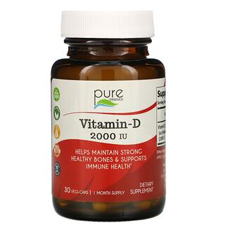 Pure Essence, Vitamin-D, 2,000 IU, 30 Vegi-Caps