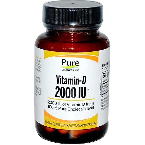 Pure Essence, Vitamin-D, 2000 IU, 30 Veggie Caps