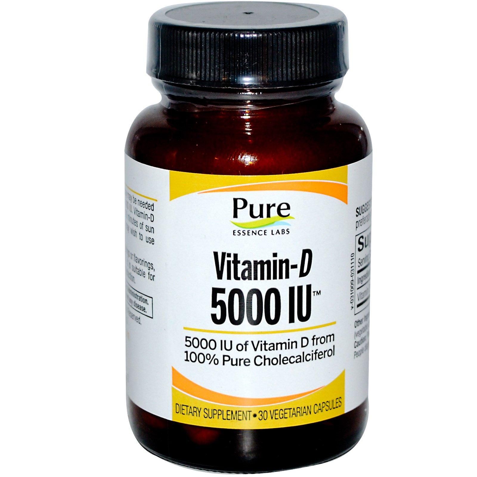 Pure Essence, Витамин D, 5000 МЕ, 30 растительных капсул