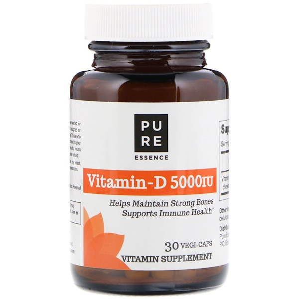Pure Essence, Vitamin-D, 5,000 IU, 30 Vegi-Caps (Discontinued Item)