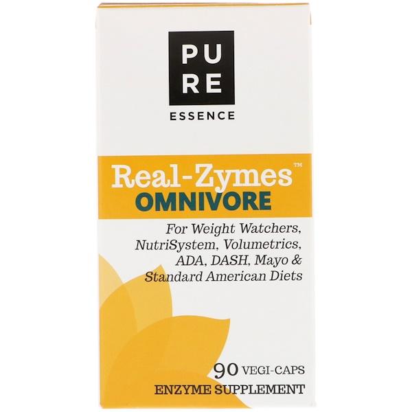 Pure Essence, Real-Zymes, Onívoro, 90 Cápsulas Vegetarianas (Discontinued Item)