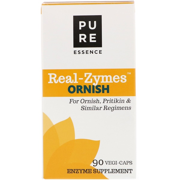 Pure Essence, Real-Zymes, Ornish, 90 Vegi-Caps (Discontinued Item)