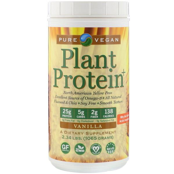 Pure Vegan, Plant Protein+, Vanilla, 2.34 lbs (1065 g)