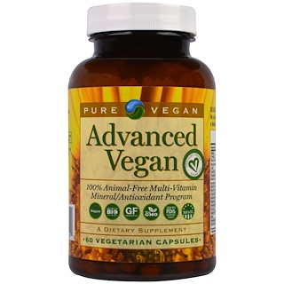 Pure Vegan, Advanced Vegan, 60 вегетарианских капсул