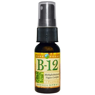 Pure Vegan, B-12, Spray, 500 mcg, 1 fl oz