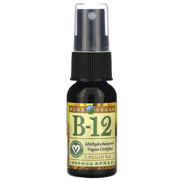 Pure Vegan, B-12、 500 mcg Spray、 1液量オンス