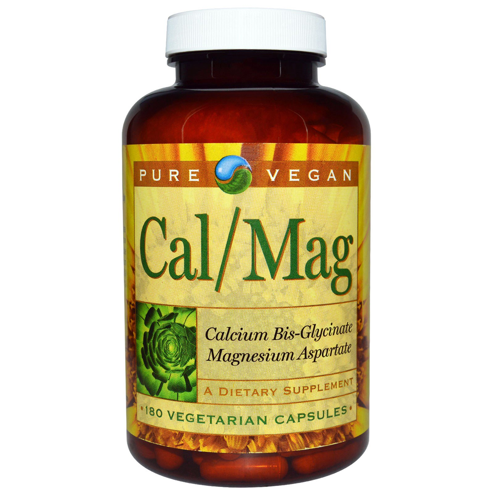 Pure Vegan, Кальций и магний, 180 капсул на растительной основе