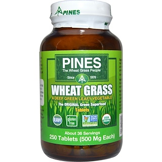 Pines International, Wheat Grass, 500 mg, 250 Tablets