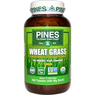 Pines International, Organic, Wheat Grass, 500 mg, 500 Tablets
