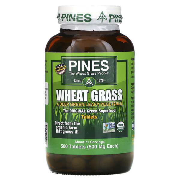 Pines International, Wheat Grass, 500 mg, 500 Tablets