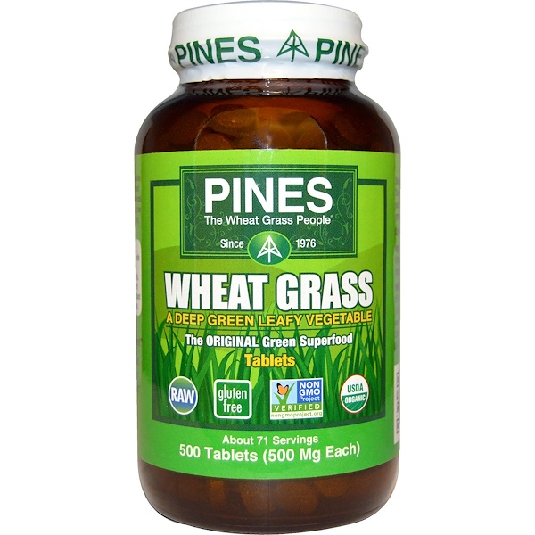 Organic, Wheat Grass, 500 mg, 500 Tablets