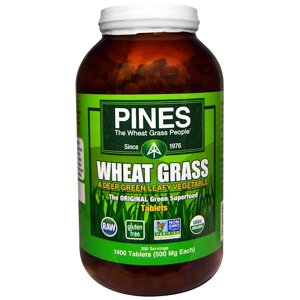 Organic Pines Wheat Grass, 500 mg, 1400 Tablets