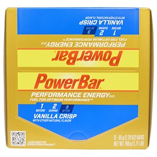 PowerBar, Performance Energy Bar, Vanilla Crisp, 12 Bars, 2.29 oz (65 g) Each