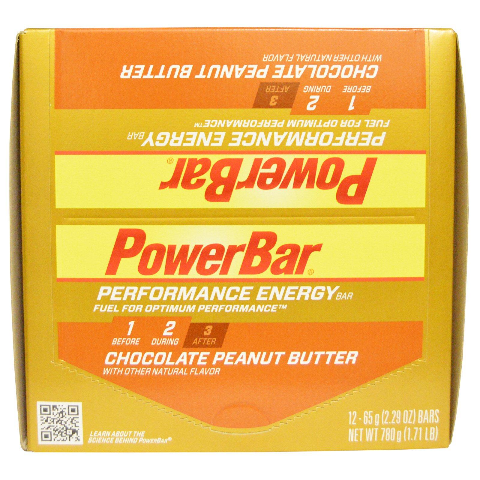 PowerBar, Performance Energy, шоколадно-арахисовое масло, 12 батончиков, 2,29 унции (65 г) каждый