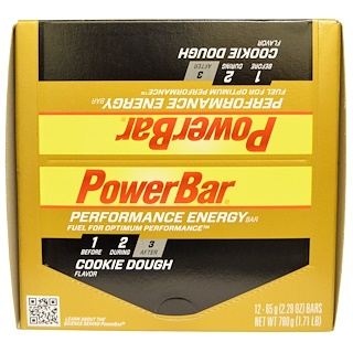 PowerBar, Performance Energy Bar, Cookie Dough, 12 Bars, 2.29 oz (65 g) Each