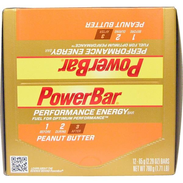 PowerBar, Performance Energy, арахисовое масло, 12 батончиков по 2,29 унции (65 г)  (Discontinued Item)