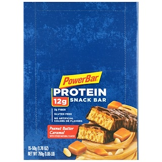 PowerBar, Protein Snack Bar, Peanut Butter Caramel, 15 Bars, 1.76 oz (50 g) Each