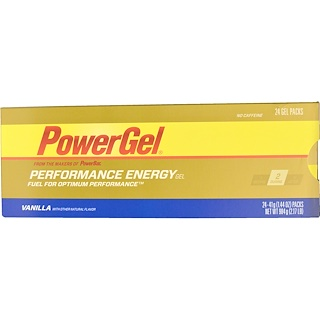 PowerBar, PowerGel, Vanilla, No Caffeine, 24 Gel Packs, 1.44 oz (41 g) Each