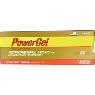 PowerBar, Performance Energy Gel, Strawberry Banana Flavor, 24 Gel Packs, 1.44 oz (41 g) Each