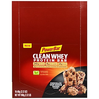 PowerBar, Clean Whey Protein Bar, Chocolate Chip Cookie Dough, 16 Bars, 2.12 oz (60 g) Each