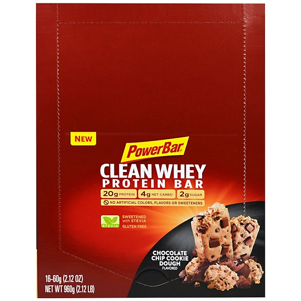 PowerBar, Clean Whey Protein Bar, Chocolate Chip Cookie Dough, 16 Bars, 2.12 oz (60 g) Each (Discontinued Item)
