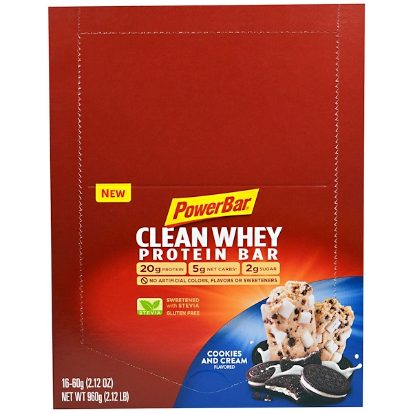 PowerBar, Clean Whey Protein Bar, Cookies and Cream Flavored, 16 Bars, 2.12 oz (60 g) (Discontinued Item)