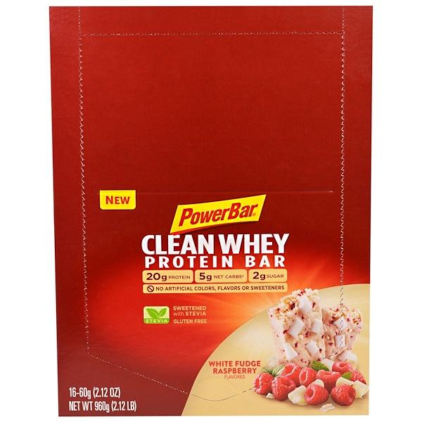 PowerBar, Clean Whey Protein Bar, White Fudge Raspberry Flavored, 16 Bars, 2.12 oz (60 g) Each (Discontinued Item)