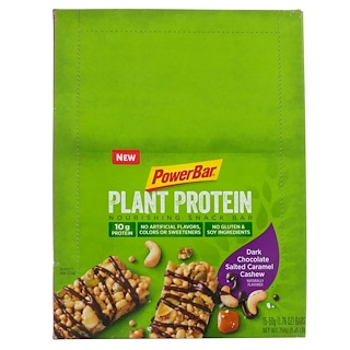 PowerBar, Plant Protein, Dark Chocolate Salted Caramel Cashew, 15 Bars, 1.76 oz (50 g) Each