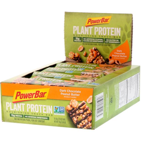 PowerBar, Proteína vegetal, manteca de maní con chocolate negro, 15 barras, 1,76oz (50g) cada una (Discontinued Item)