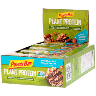PowerBar, Plant Protein, Dark Chocolate Almond Sea Salt, 15 Bars, 1.76 oz (50 g) Each