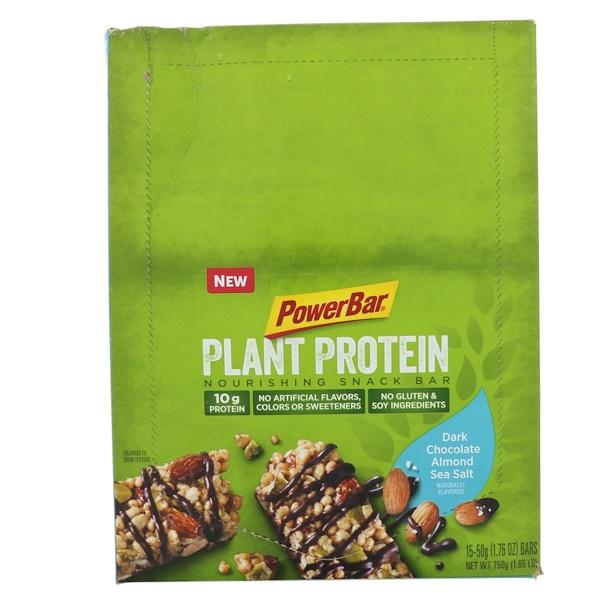 PowerBar, 植物蛋白,黑巧克力杏仁海鹽,15條,每條1、76盎司(50克)
