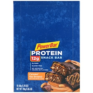 PowerBar, Protein Snack Bar, Caramel Nut Brownie, 15 Bars, 1.76 oz (50 g) Each