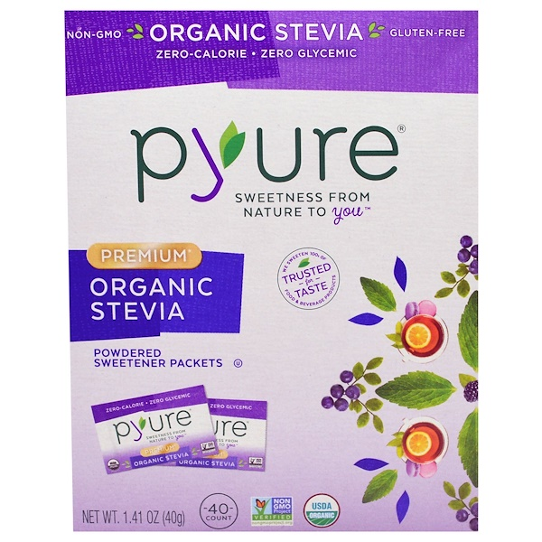 Pyure, Premium Organic Stevia, Powdered Sweetener Packets, 40 Count, 1.41 oz (40 g) (Discontinued Item)