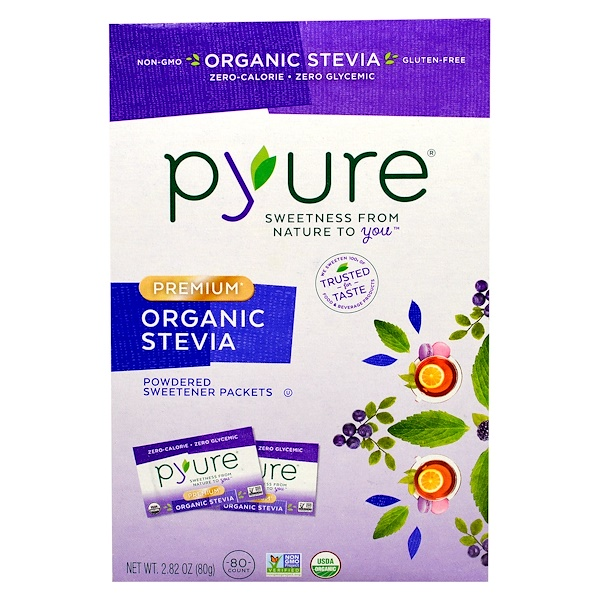Pyure, Premium Organic Stevia, Powdered Sweetener Packets, 80 Count, 2.82 oz (80 g) (Discontinued Item)