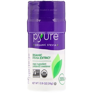Pyure, Organic Stevia Extract, Powdered Sweetener, 0.9 oz (25 g)