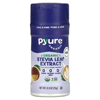 Pyure, Organic Stevia Extract Jar, Single Ingredient Sugar Substitute, 0.9 oz (25 g)